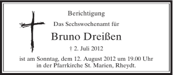 Anzeige von Bruno Dreißen | trauer.rp-online.de